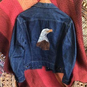Vintage Lee Jean Jacket - Custom Embroidered Eagle